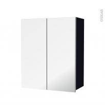Armoire de salle de bains - Rangement haut - KERIA Noir - 2 portes miroir - Côtés décors - L60 x H70  xP27 cm