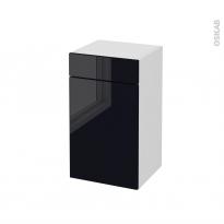 Meuble de salle de bains - Rangement bas - KERIA Noir - 1 porte 1 tiroir - L40 x H70 x P37 cm