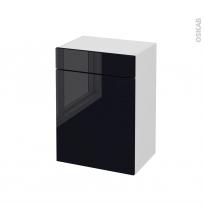 Meuble de salle de bains - Rangement bas - KERIA Noir - 1 porte 1 tiroir - L50 x H70 x P37 cm