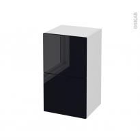 Meuble de salle de bains - Rangement bas - KERIA Noir - 2 tiroirs - L40 x H70 x P37 cm