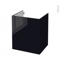 Meuble de salle de bains - Sous vasque - KERIA Noir - 2 tiroirs - Côtés décors - L60 x H70 x P50 cm
