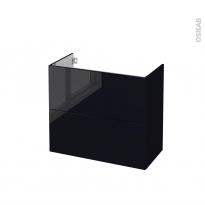Meuble de salle de bains - Sous vasque - KERIA Noir - 2 tiroirs - Côtés décors - L80 x H70 x P40 cm