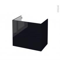 Meuble de salle de bains - Sous vasque - KERIA Noir - 2 tiroirs - Côtés décors - L80 x H70 x P50 cm
