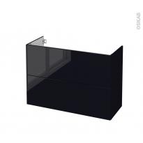 Meuble de salle de bains - Sous vasque - KERIA Noir - 2 tiroirs - Côtés décors - L100 x H70 x P40 cm
