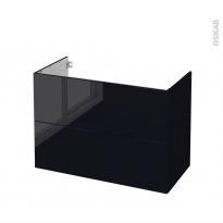 Meuble de salle de bains - Sous vasque - KERIA Noir - 2 tiroirs - Côtés décors - L100 x H70 x P50 cm