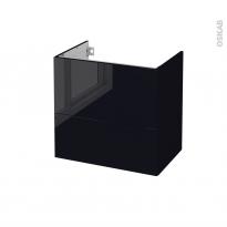 Meuble de salle de bains - Sous vasque - KERIA Noir - 2 tiroirs - Côtés décors - L60 x H57 x P40 cm