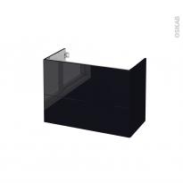 Meuble de salle de bains - Sous vasque - KERIA Noir - 2 tiroirs - Côtés décors - L80 x H57 x P40 cm