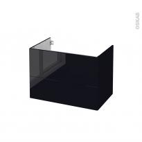 Meuble de salle de bains - Sous vasque - KERIA Noir - 2 tiroirs - Côtés décors - L80 x H57 x P50 cm