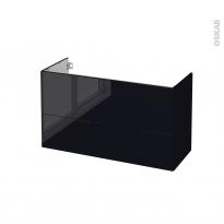 Meuble de salle de bains - Sous vasque - KERIA Noir - 2 tiroirs - Côtés décors - L100 x H57 x P40 cm
