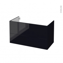 Meuble de salle de bains - Sous vasque - KERIA Noir - 2 tiroirs - Côtés décors - L100 x H57 x P50 cm