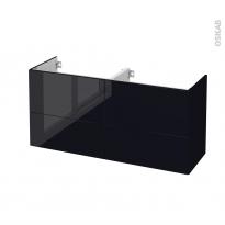 Meuble de salle de bains - Sous vasque double - KERIA Noir - 4 tiroirs - Côtés décors - L120 x H57 x P40 cm
