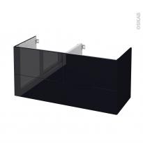Meuble de salle de bains - Sous vasque double - KERIA Noir - 4 tiroirs - Côtés décors - L120 x H57 x P50 cm
