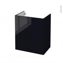 Meuble de salle de bains - Sous vasque - KERIA Noir - 2 portes - Côtés décors - L60 x H70 x P40 cm