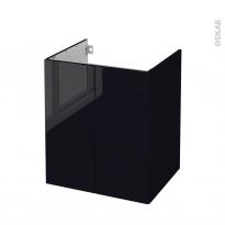 Meuble de salle de bains - Sous vasque - KERIA Noir - 2 portes - Côtés décors - L60 x H70 x P50 cm
