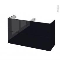Meuble de salle de bains - Sous vasque double - KERIA Noir - 4 tiroirs - Côtés décors - L120 x H70 x P40 cm