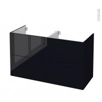Meuble de salle de bains - Sous vasque double - KERIA Noir - 4 tiroirs - Côtés décors - L120 x H70 x P50 cm