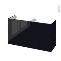 Meuble de salle de bains - Sous vasque double - KERIA Noir - 4 portes - Côtés décors - L120 x H70 x P40 cm
