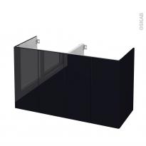 Meuble de salle de bains - Sous vasque double - KERIA Noir - 4 portes - Côtés décors - L120 x H70 x P50 cm