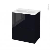 Meuble de salle de bains - Plan vasque REZO - KERIA Noir - 2 tiroirs - Côtés décors - L60,5 x H71,5 x P40,5 cm