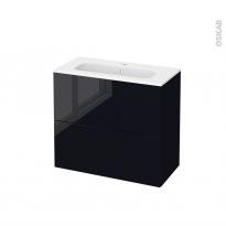 Meuble de salle de bains - Plan vasque REZO - KERIA Noir - 2 tiroirs - Côtés décors - L80,5 x H71,5 x P40,5 cm