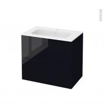Meuble de salle de bains - Plan vasque REZO - KERIA Noir - 2 tiroirs - Côtés décors - L80,5 x H71,5 x P50,5 cm