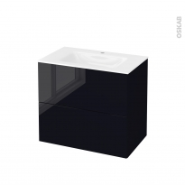 Meuble de salle de bains - Plan vasque VALA - KERIA Noir - 2 tiroirs - Côtés décors - L80,5 x H71,2 x P50,5 cm