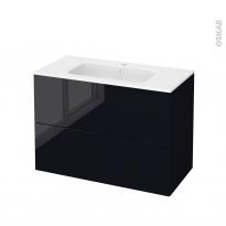 Meuble de salle de bains - Plan vasque REZO - KERIA Noir - 2 tiroirs - Côtés décors - L100,5 x H71,5 x P50,5 cm