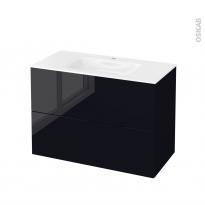 Meuble de salle de bains - Plan vasque VALA - KERIA Noir - 2 tiroirs - Côtés décors - L100,5 x H71,2 x P50,5 cm