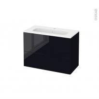 Meuble de salle de bains - Plan vasque REZO - KERIA Noir - 2 tiroirs - Côtés décors - L80,5 x H58,5 x P40,5 cm