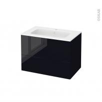 Meuble de salle de bains - Plan vasque REZO - KERIA Noir - 2 tiroirs - Côtés décors - L80,5 x H58,5 x P50,5 cm