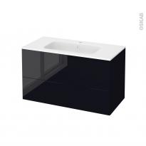 Meuble de salle de bains - Plan vasque REZO - KERIA Noir - 2 tiroirs - Côtés décors - L100,5 x H58,5 x P50,5 cm