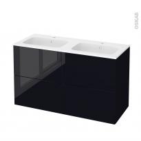 Meuble de salle de bains - Plan double vasque REZO - KERIA Noir - 4 tiroirs - Côtés décors - L120,5 x H71,5 x P50,5 cm
