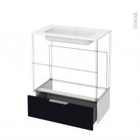 Tiroir sous meuble - Socle n°101 - KERIA Noir - pour meuble salle de bains - L80 x H26 x P45 cm