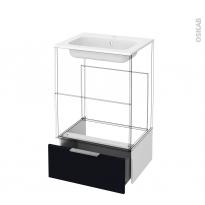 Tiroir sous meuble - Socle n°51 - KERIA Noir - pour meuble salle de bains - L60 x H26 x P45 cm