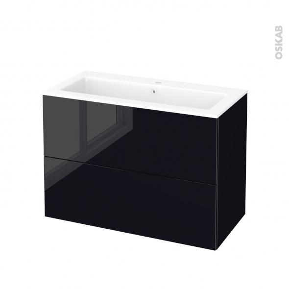 Meuble de salle de bains - Plan vasque NAJA - KERIA Noir - 2 tiroirs - Côtés décors - L100,5 x H71,5 x P50,5 cm