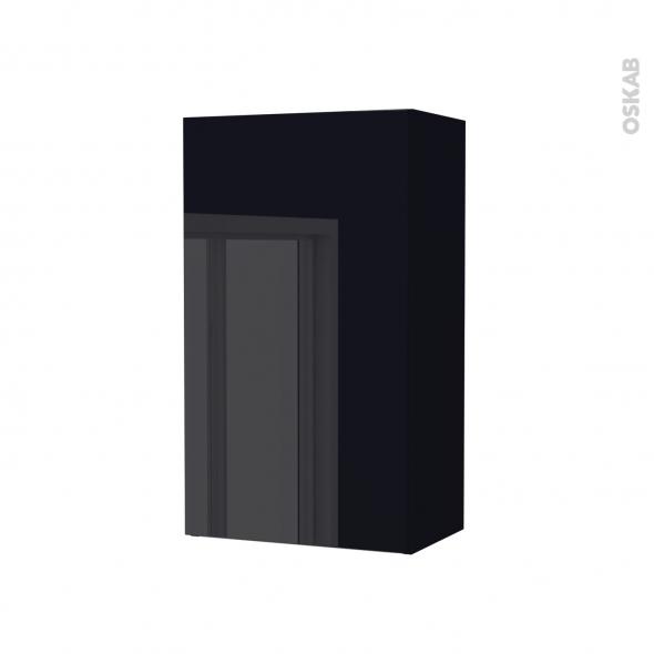 Armoire de salle de bains - Rangement haut - KERIA Noir - 1 porte - Côtés décors - L40 x H70 x P27 cm