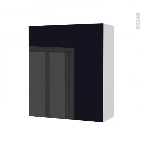 Armoire de salle de bains - Rangement haut - KERIA Noir - 1 porte - Côtés blancs - L60 x H70 x P27 cm