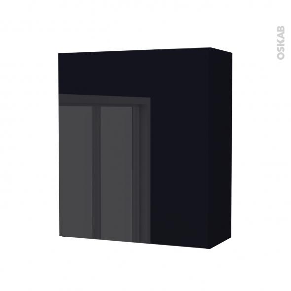 Armoire de salle de bains - Rangement haut - KERIA Noir - 1 porte - Côtés décors - L60 x H70 x P27 cm