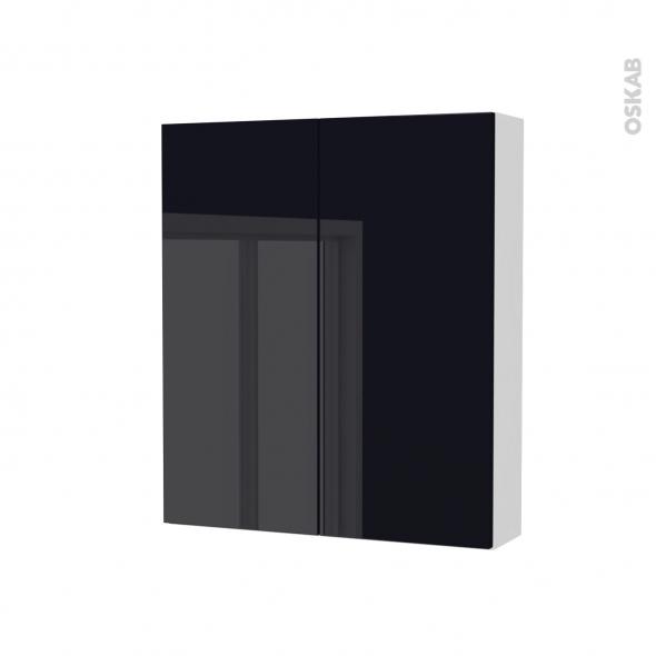 Armoire de toilette - Rangement haut - KERIA Noir - 2 portes - Côtés blancs - L60 x H70 x P17 cm