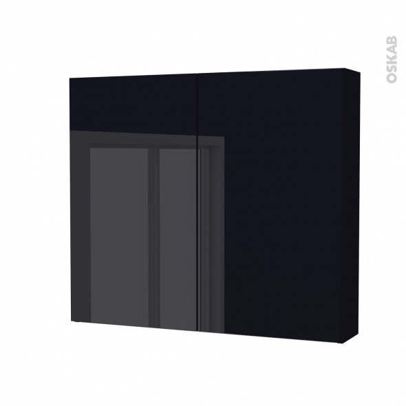 Armoire de toilette - Rangement haut - KERIA Noir - 2 portes - Côtés décors - L80 x H70 x P17 cm