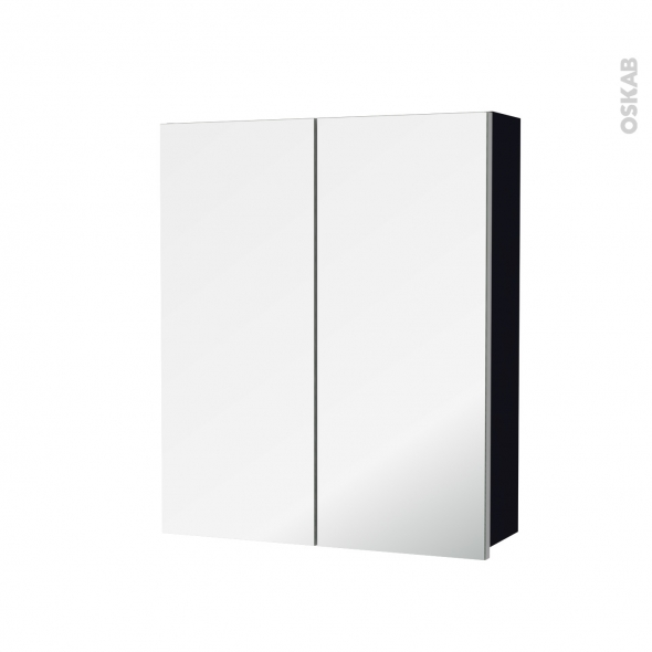 Armoire de toilette - Rangement haut - KERIA Noir - 2 portes miroir - Côtés décors - L60 x H70 x P17 cm