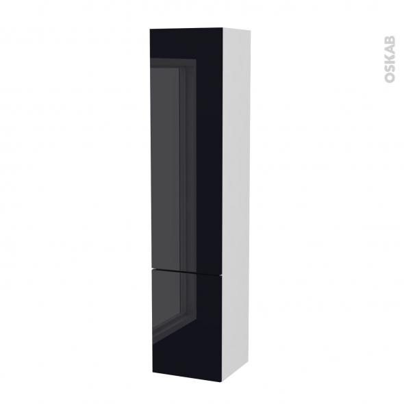 Colonne de salle de bains - 2 portes - KERIA Noir - Côtés blancs - Version B - L40 x H182 x P40 cm