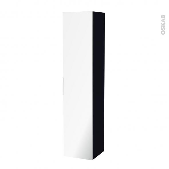 Colonne de salle de bains - 1 porte miroir - KERIA Noir - Côtés décors - L40 x H182 x P40 cm