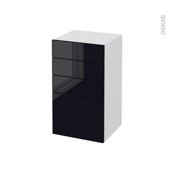 Meuble de salle de bains - Rangement bas - KERIA Noir - 4 tiroirs - L40 x H70 x P37 cm