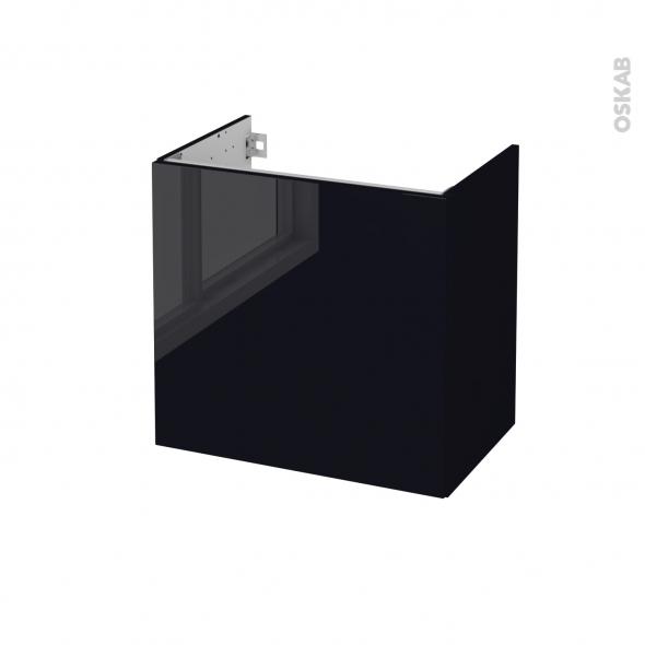 Meuble de salle de bains - Sous vasque - KERIA Noir - 1 porte - Côtés décors - L60 x H57 x P40 cm