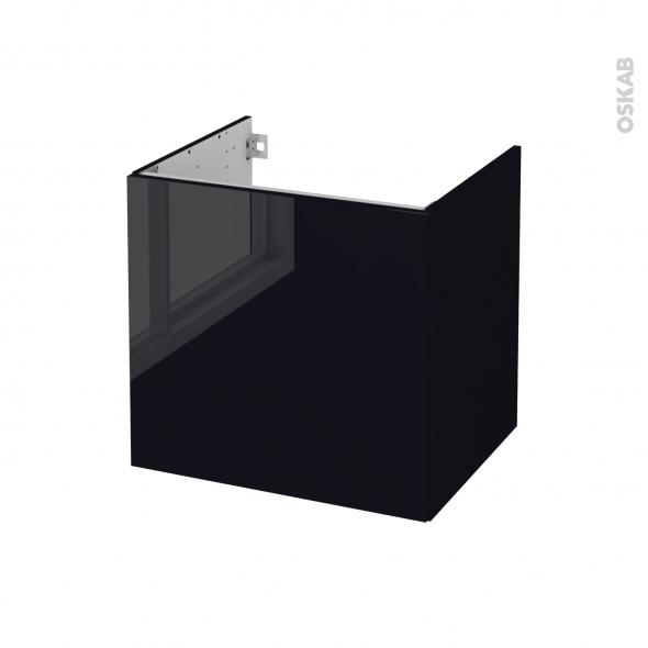 Meuble de salle de bains - Sous vasque - KERIA Noir - 1 porte - Côtés décors - L60 x H57 x P50 cm