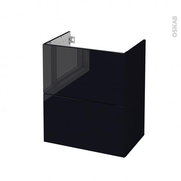 Meuble de salle de bains - Sous vasque - KERIA Noir - 2 tiroirs - Côtés décors - L60 x H70 x P40 cm
