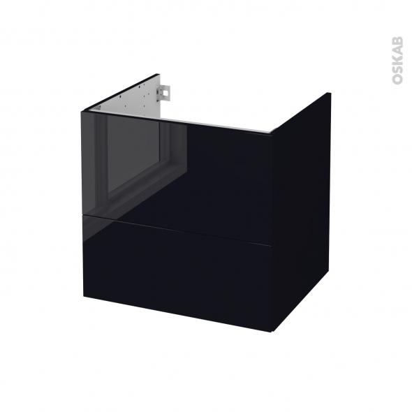 Meuble de salle de bains - Sous vasque - KERIA Noir - 2 tiroirs - Côtés décors - L60 x H57 x P50 cm