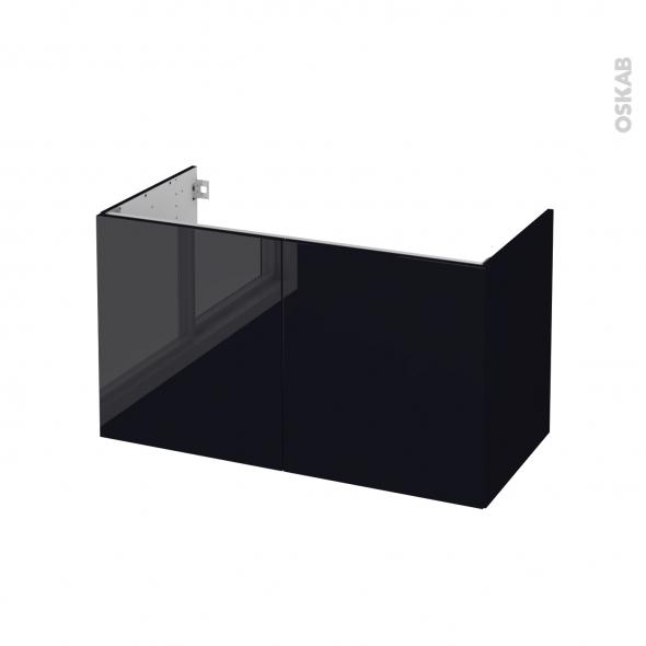 Meuble de salle de bains - Sous vasque - KERIA Noir - 2 portes - Côtés décors - L100 x H57 x P50 cm