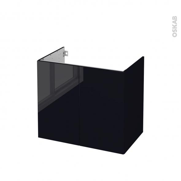 Meuble de salle de bains - Sous vasque - KERIA Noir - 2 portes - Côtés décors - L80 x H70 x P50 cm